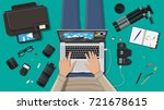 workspace of freelance... | Shutterstock .eps vector #721678615
