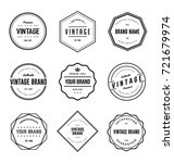 vintage brand label vector set | Shutterstock .eps vector #721679974