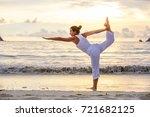 caucasian woman practicing yoga ... | Shutterstock . vector #721682125