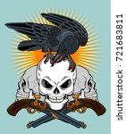 a crow sitting on a human skull ... | Shutterstock .eps vector #721683811