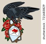 a crow sitting in a bottle in a ... | Shutterstock .eps vector #721683829