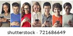 smiling people using smart... | Shutterstock . vector #721686649
