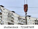 hook of a construction crane... | Shutterstock . vector #721687609
