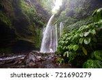 woman meditating doing yoga... | Shutterstock . vector #721690279