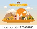 fall harvest farming background | Shutterstock .eps vector #721690705