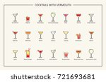 cocktails with vermouth guide ... | Shutterstock .eps vector #721693681