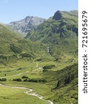 Small photo of Scenic Alpine rocky alpine valley of Sportgastein in summer. Picturesque mountain pasturelands, great mountain massif and sunny weather. Sport hiking landscape background.