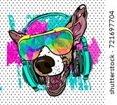 colorful vector poster with dog ... | Shutterstock .eps vector #721697704