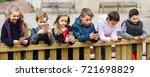 outdoor portrait of positive... | Shutterstock . vector #721698829