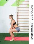 sporty girl lifting light... | Shutterstock . vector #721700641