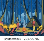 couple camping in forest with...   Shutterstock .eps vector #721700707