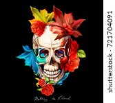 vintage illustration of skull... | Shutterstock .eps vector #721704091