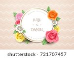 vintage roses wreath background ... | Shutterstock .eps vector #721707457