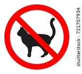 Forbidden Sign Of A Cat On A...