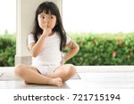 asian children cute or kid girl ... | Shutterstock . vector #721715194