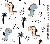 seamless pattern with cute dino ... | Shutterstock .eps vector #721717045