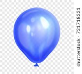 realistic blue balloon ... | Shutterstock .eps vector #721718221
