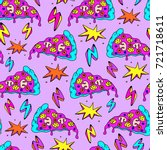 crazy seamless pattern with... | Shutterstock .eps vector #721718611