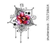 mandala tattoo hand drawn lotus ...   Shutterstock . vector #721718614
