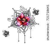 mandala tattoo hand drawn lotus ... | Shutterstock . vector #721718641