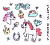 trendy sticker pack with... | Shutterstock .eps vector #721718935