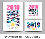 2018 happy new year  merry x... | Shutterstock .eps vector #721724059