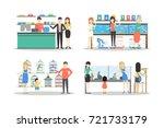 pet shop set on white... | Shutterstock .eps vector #721733179