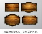 wooden signs  vector icon set | Shutterstock .eps vector #721734451