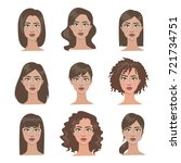female hairstyles set. all... | Shutterstock .eps vector #721734751