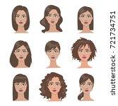 female hairstyles set. all... | Shutterstock .eps vector #721734751