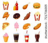 fast food icons. mass produced... | Shutterstock .eps vector #721736005