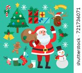 funny christmas stickers. santa ... | Shutterstock .eps vector #721736071