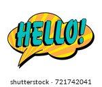hello speech bubble in retro... | Shutterstock .eps vector #721742041