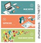 grocery shopping online using... | Shutterstock .eps vector #721748737