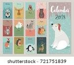 calendar 2018. cute monthly... | Shutterstock .eps vector #721751839
