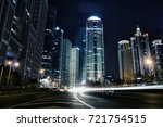 light trails on the roundabout... | Shutterstock . vector #721754515