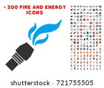 burner nozzle fire icon with... | Shutterstock .eps vector #721755505