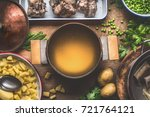 pot with meat broth   cooking... | Shutterstock . vector #721764121