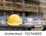 yellow safety hardhat. front... | Shutterstock . vector #721764835
