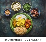 various indian food bowls with... | Shutterstock . vector #721766644