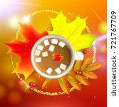 autumn maple leaf and rowan... | Shutterstock .eps vector #721767709