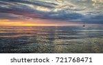 Sea Sunset Idyllic View With...