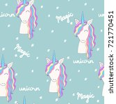 magic cute unicorn with stars.... | Shutterstock .eps vector #721770451