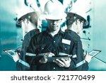double exposure of  engineer or ... | Shutterstock . vector #721770499