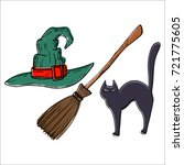 witch hat and broom and cat ...