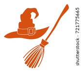 witch hat and broom  colorful... | Shutterstock .eps vector #721775665