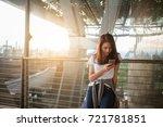 happy asian girls using... | Shutterstock . vector #721781851