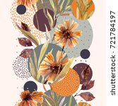 abstract floral and geometric... | Shutterstock . vector #721784197