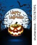 jack o lantern glowing at... | Shutterstock .eps vector #721787491
