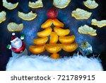 christmas fir tree with a santa ... | Shutterstock . vector #721789915